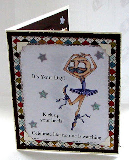 Moustache Ballerina Card - Colour n Cards