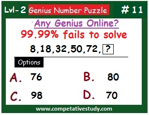 Number Puzzle: Find the missing number: 8, 18, 32, 50, 72, ?