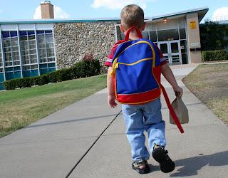 Student outside preschool
