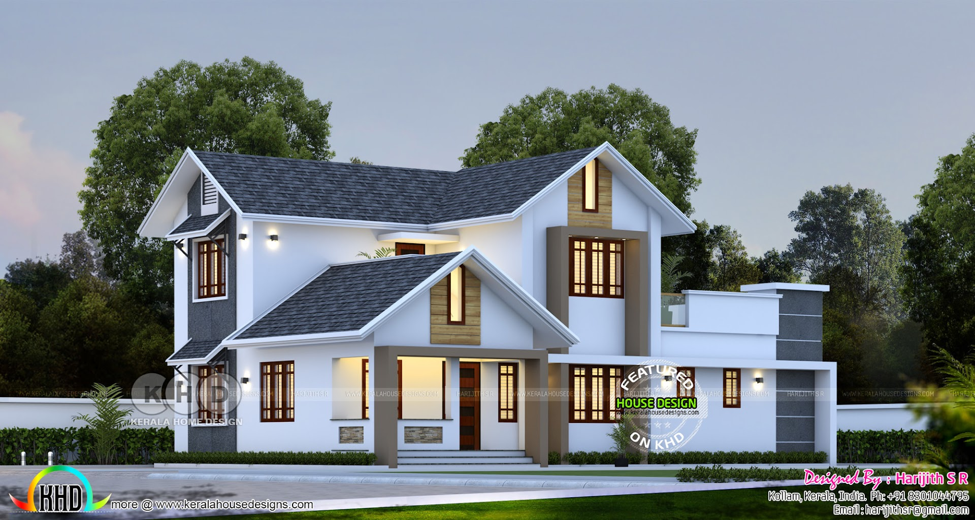 Sloped Roof Simple House Design At Kollam Kerala Home Design And Floor Plans 8000 Houses