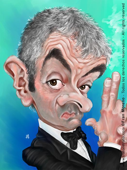 Caricatura de  Rowan Atkinson por Fran Moreno
