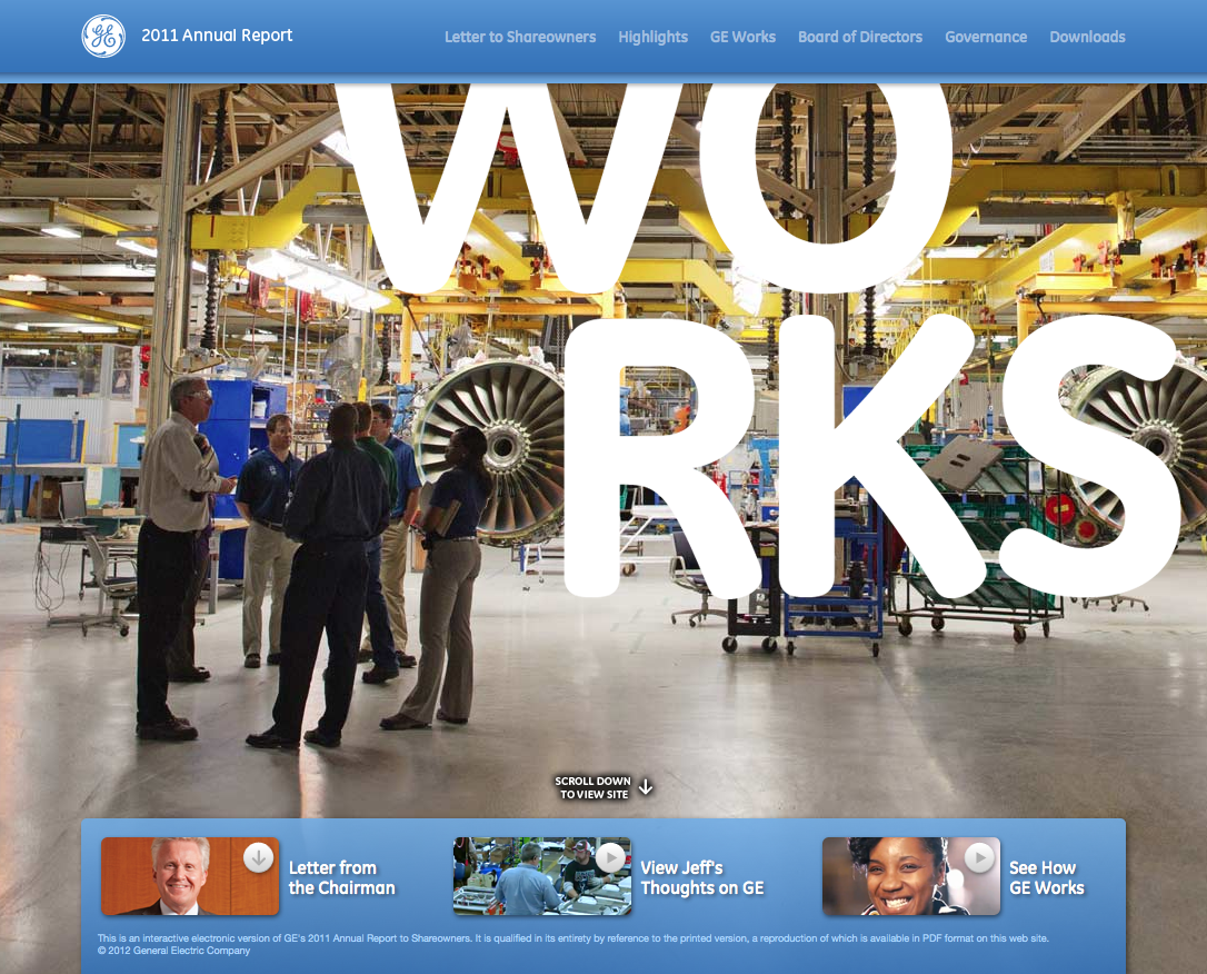 GE's 2011 interactive annual report website