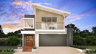 Double storey house facades with balcony