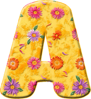 Abecedario Amarillo con Flores de Colores. Yellow Alphabet with Colored Flowers Inside.