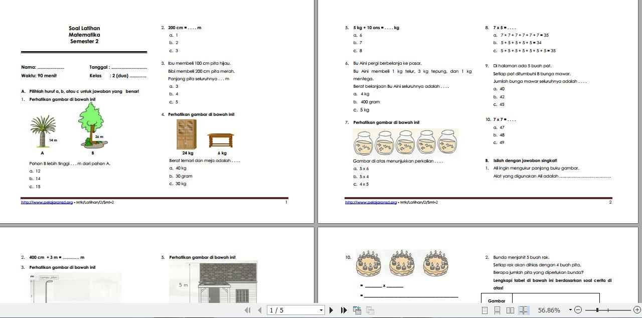Soal Latihan Matematika Kelas 2 SD Semester II