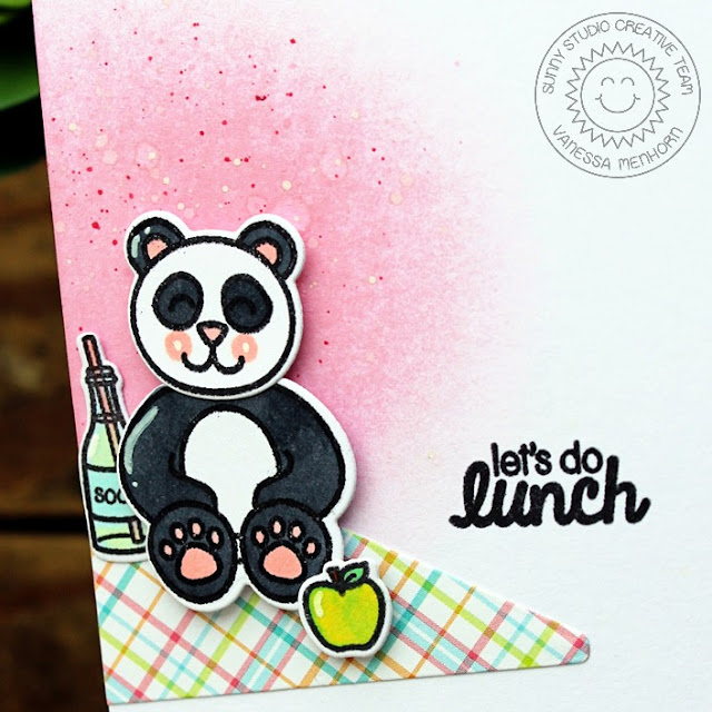 Sunny Studio Stamps: Comfy Creatures & Summer Picnic Let's Do Lunch Panda Card by Vanessa Menhorn.