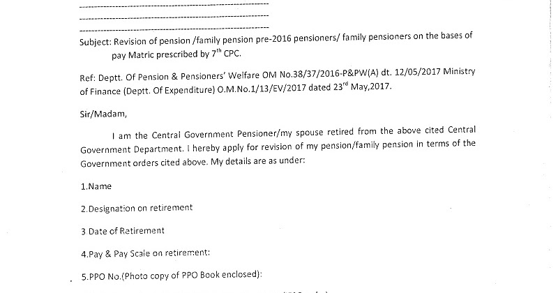 7th CPC Revision of Pension/Family pension on the bases of