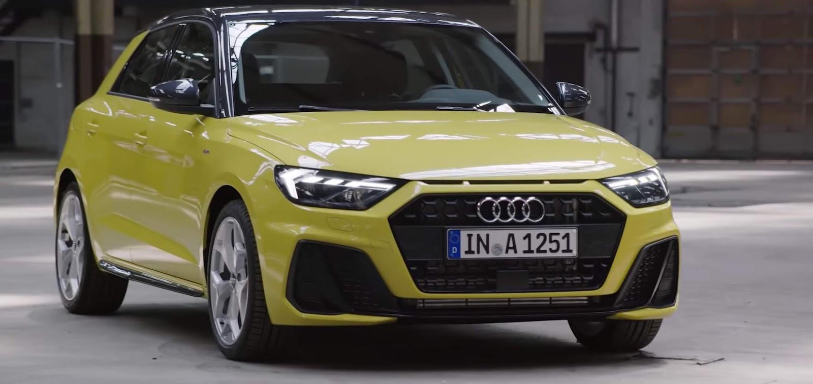audi a1 2019 colore giallo vista tre qaurti anteriore
