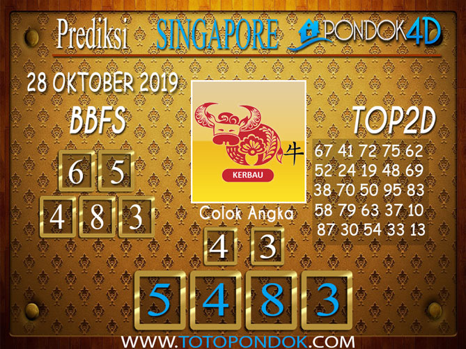 Prediksi Togel SINGAPORE PONDOK4D 28 OKTOBER 2019