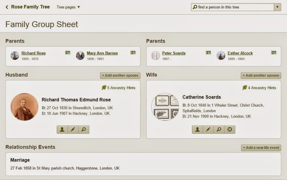 Family Group Sheet for Rose Genealogy