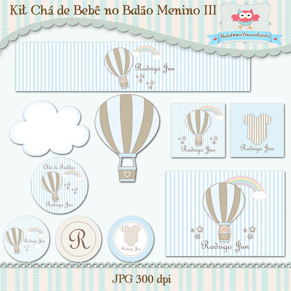 chá de bebê, balão, menino, arte digital, kit digita, convite, topper, rótulo, tag, água, caixa acrílica, totem