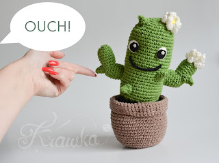 Krawka: crochet cactus plant with flowerpot crochet pattern by Krawka, housewarming gift, crochet flower, cactuar inspired