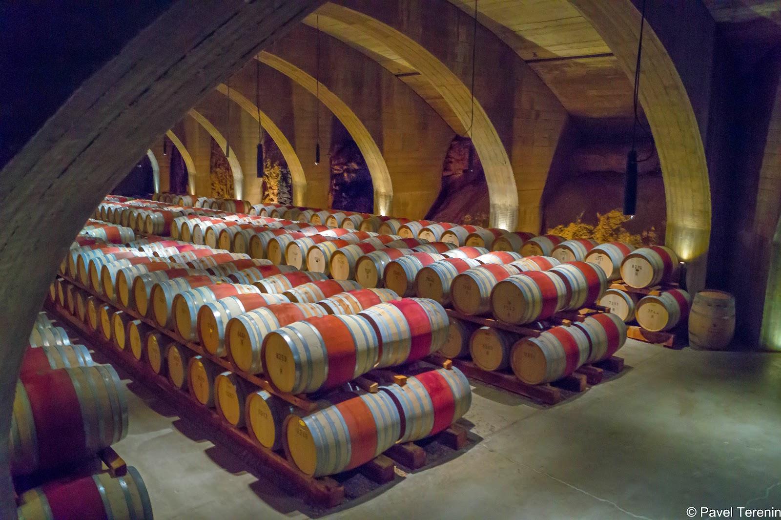 Дальше экскурсовод провёл нас в погреб, где хранятся сотни бочек с разными сортами вина.