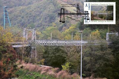 Tarjeta con sello personalizado y matasellos del puente y el castillete de Carrio, Laviana, Grucomi 2009