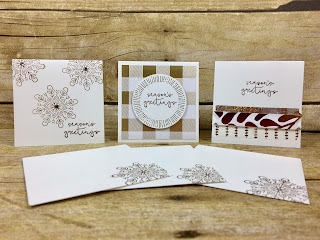 These 3x3 Christmas cards fit perfectly into Stampin' Up!'s Mini Pizza Box!  They are made with the Cheers to the Year stamp set, Year of Cheer Specialty Designer Paper, and Year of Cheer Washi Tape.  #stamptherapist #stampinup www.stamptherapist.com