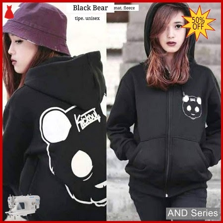 AND380 Jaket Wanita Hitam Bear Zipper BMGShop