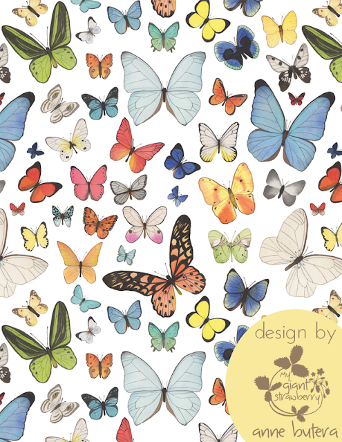 watercolor butterflies, watercolor, butterflies, Repeat Patterns, Pattern Design, Surface Pattern Design, Anne Butera, My Giant Strawberry