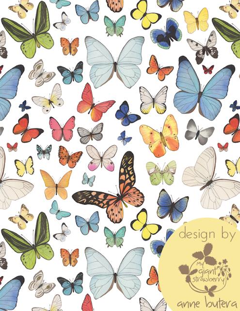 watercolor butterflies, watercolor, butterflies, Repeat Patterns, Pattern Design, Surface Pattern Design, Anne Butera, My Giant Strawberry