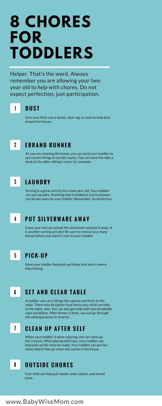 8 Chores for Toddlers Infographic