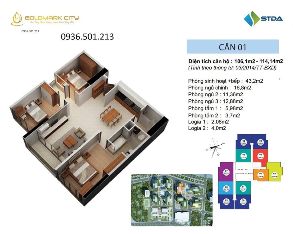 Mặt bằng căn hộ số 01 Ruby 1- Goldmark City 136 Hồ Tùng Mậu