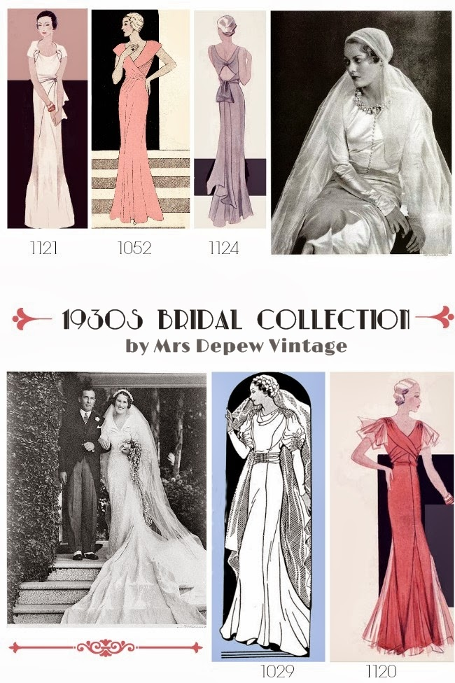 1930s wedding dress sewing patterns from Mrs Depew Vintage