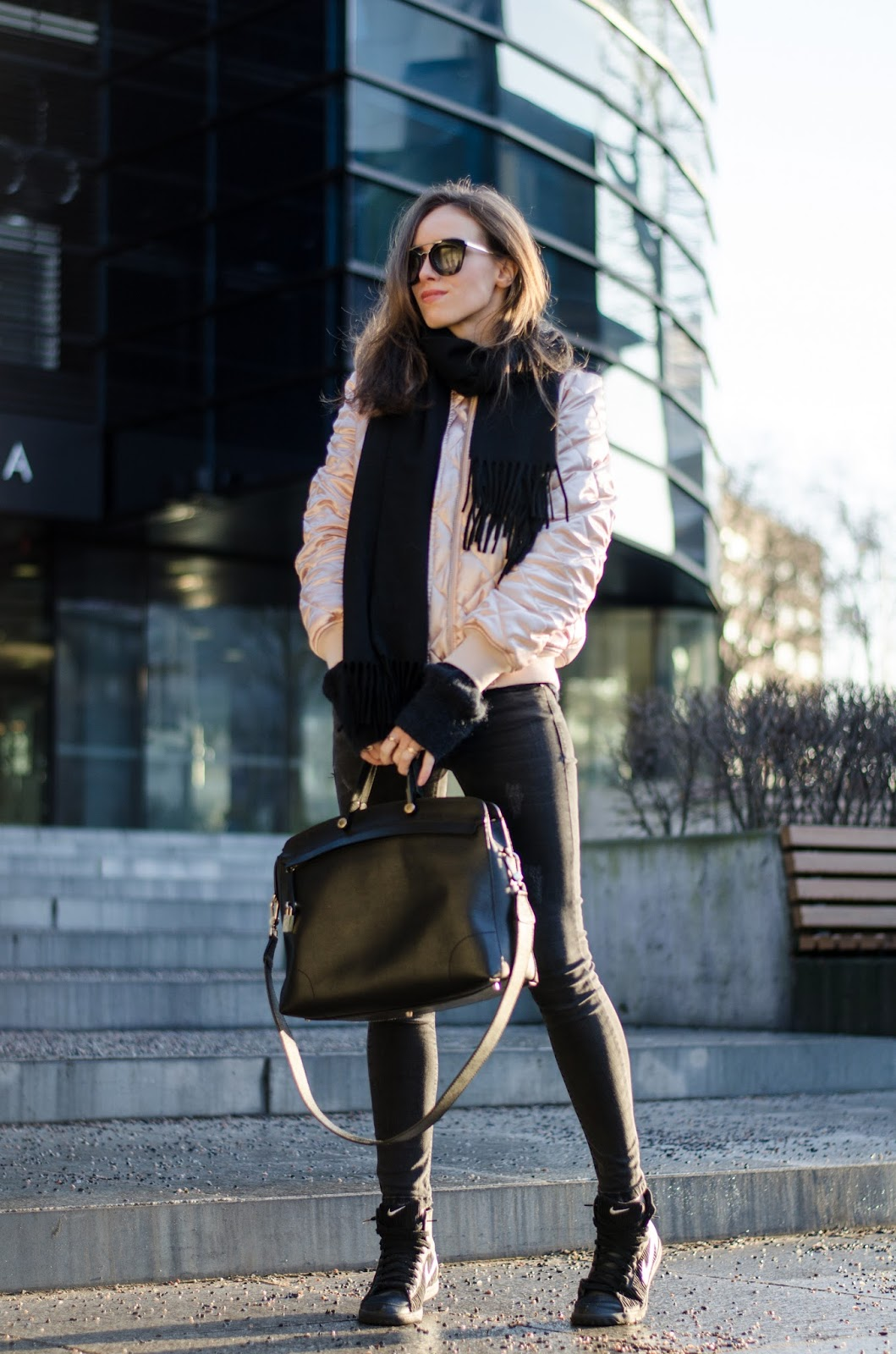 kristjaana mere bomber jacket winter outfit