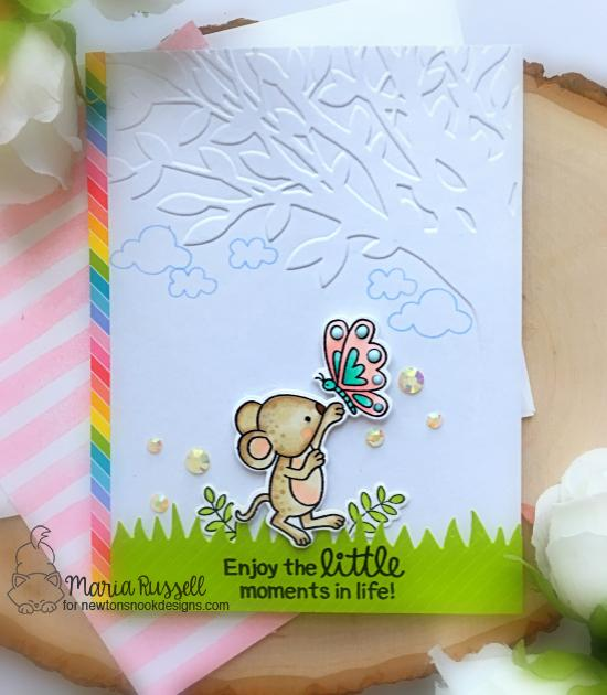 Spring Mouse Card by Maria Russell | Garden Mice Stamp Set and Land Borders Die Set by Newton's Nook Designs #newtonsnook