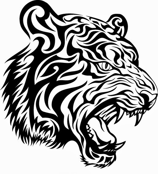 Tiger head tribal tattoo stencil