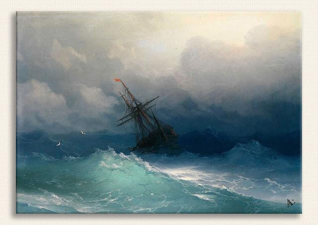 Ayvazovsky Fırtınalı Denizde Gemi tablosu