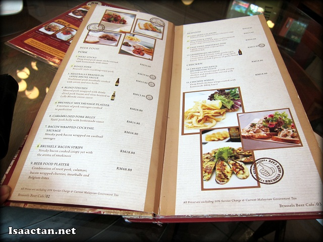 Brussels Beer Cafe Menara Hap Seng Restaurant Menu