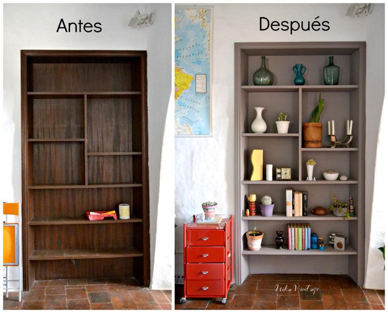 Un antes y después de una estantería de obra, un diy básico con un buen resultado