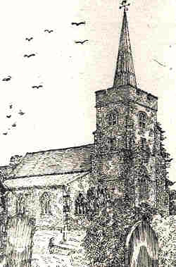 Sketch of St Mary's Church, North Mymms by H.M Alderman