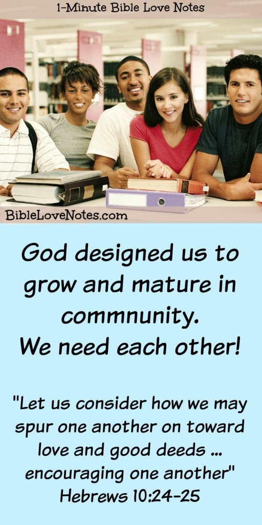 God designed us for Community, Christians need each other, fellowship, Hebrews 10:24-25