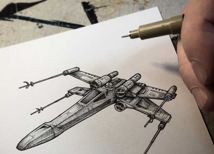 05-Star-Wars-X-wing-Starfighter-Paul-Jackson-Star-Wars-Miniature-Drawings-www-designstack-co