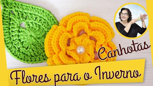 Como fazer essa linda flor em crochê para o Inverno com edinir croche no cursodecrochegratis