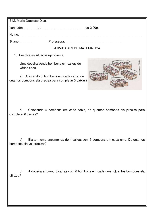 Problemas De Multiplicacao 3 Ano Atividades De Matematica