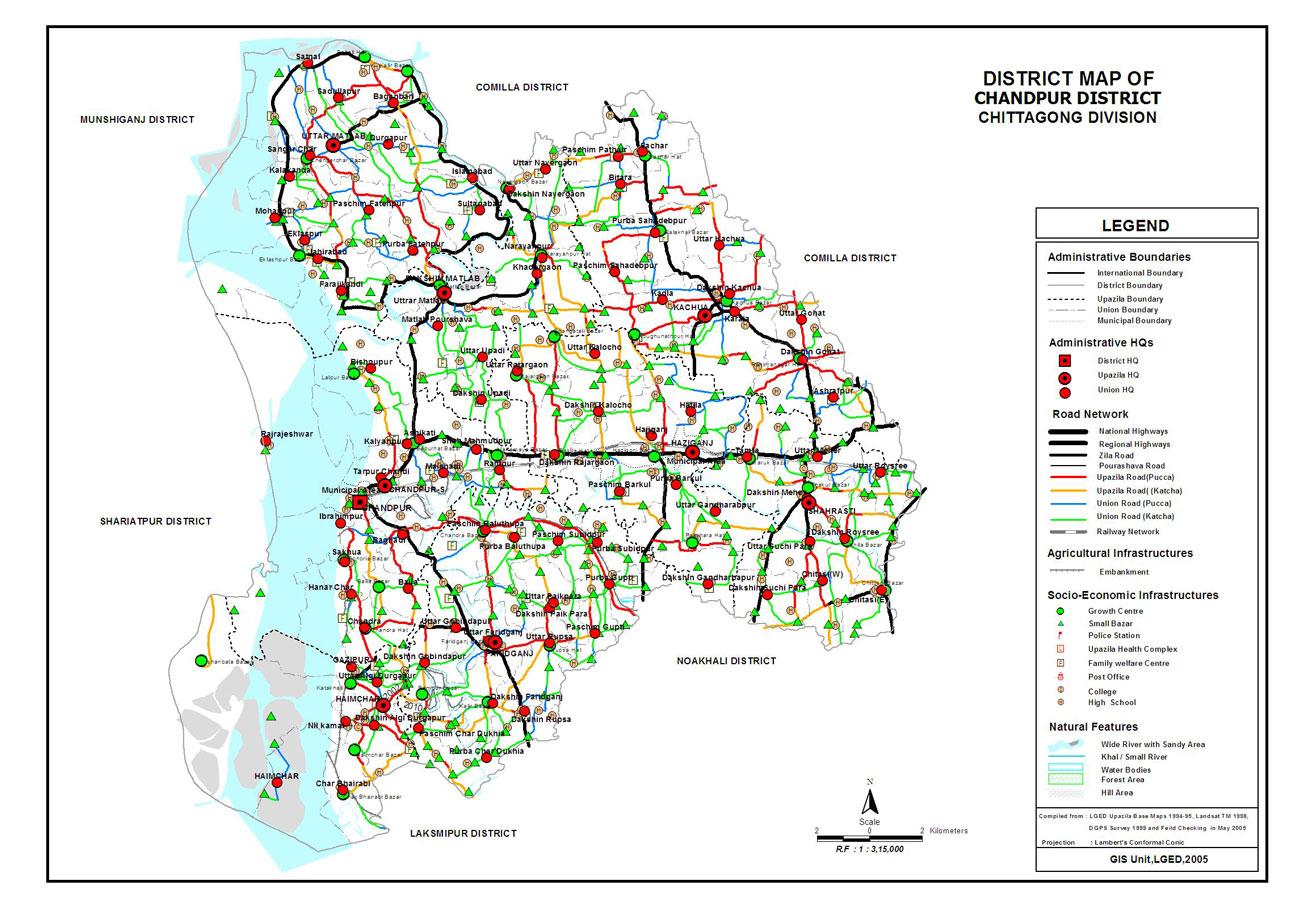 Chandpur District Map Bangladesh