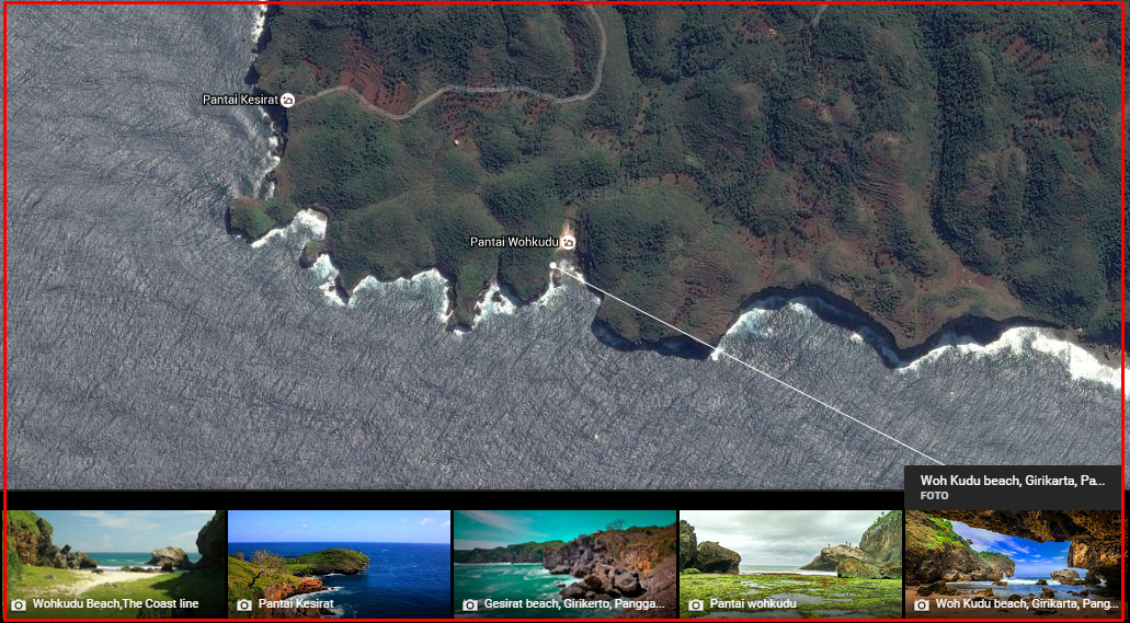 peta pantai gunung kidul pantai wohkudu