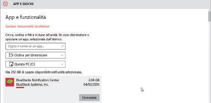 App che occupano più spazio in windows 10