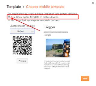 aktifkan template responsive blogger