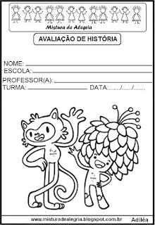 Capas avaliações com os mascotes olimpíadas 2016