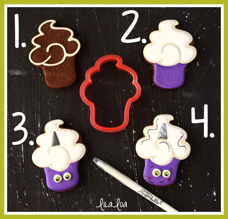 Unicorn cupcake decorated cookies tutorial -- step by step