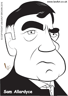 Sam Allardyce caricature by Ian Davy Brown