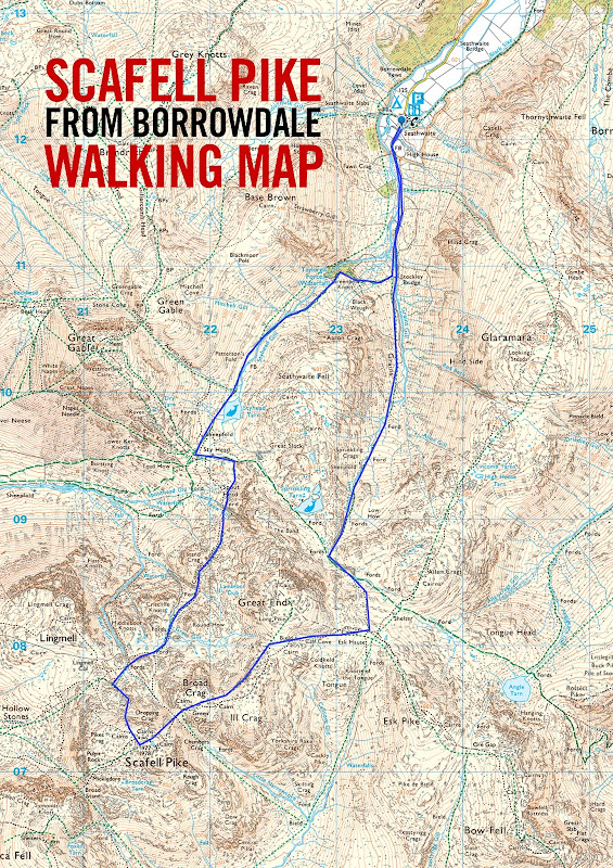 Scafell Pike walk route map height Lake district lakes best