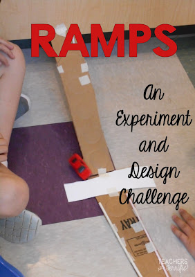 STEM Challenge: This one is an experiment and design challenge. Kids keep data tables of the experiment, then build a ramp, and make the ramp the height needed according to their data. Third graders loved this one!