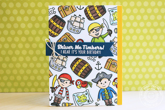 Sunny Studio Stamps: Pirate Pals Boy Birthday Card by Eloise Blue