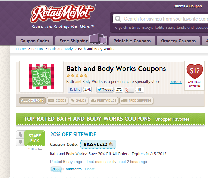 Retailmenot bath and body coupons