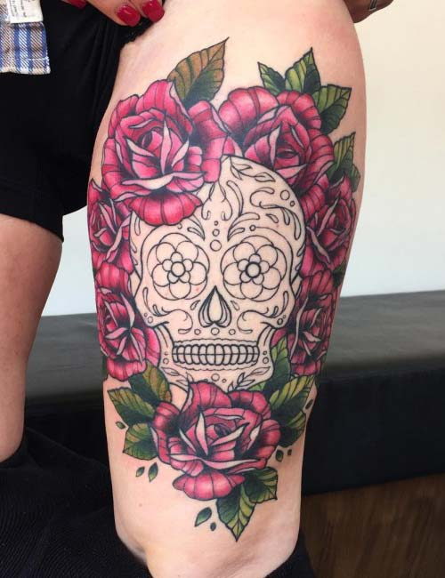 kadınlar için üst bacak dövmeleri upper leg tattoos for women 3