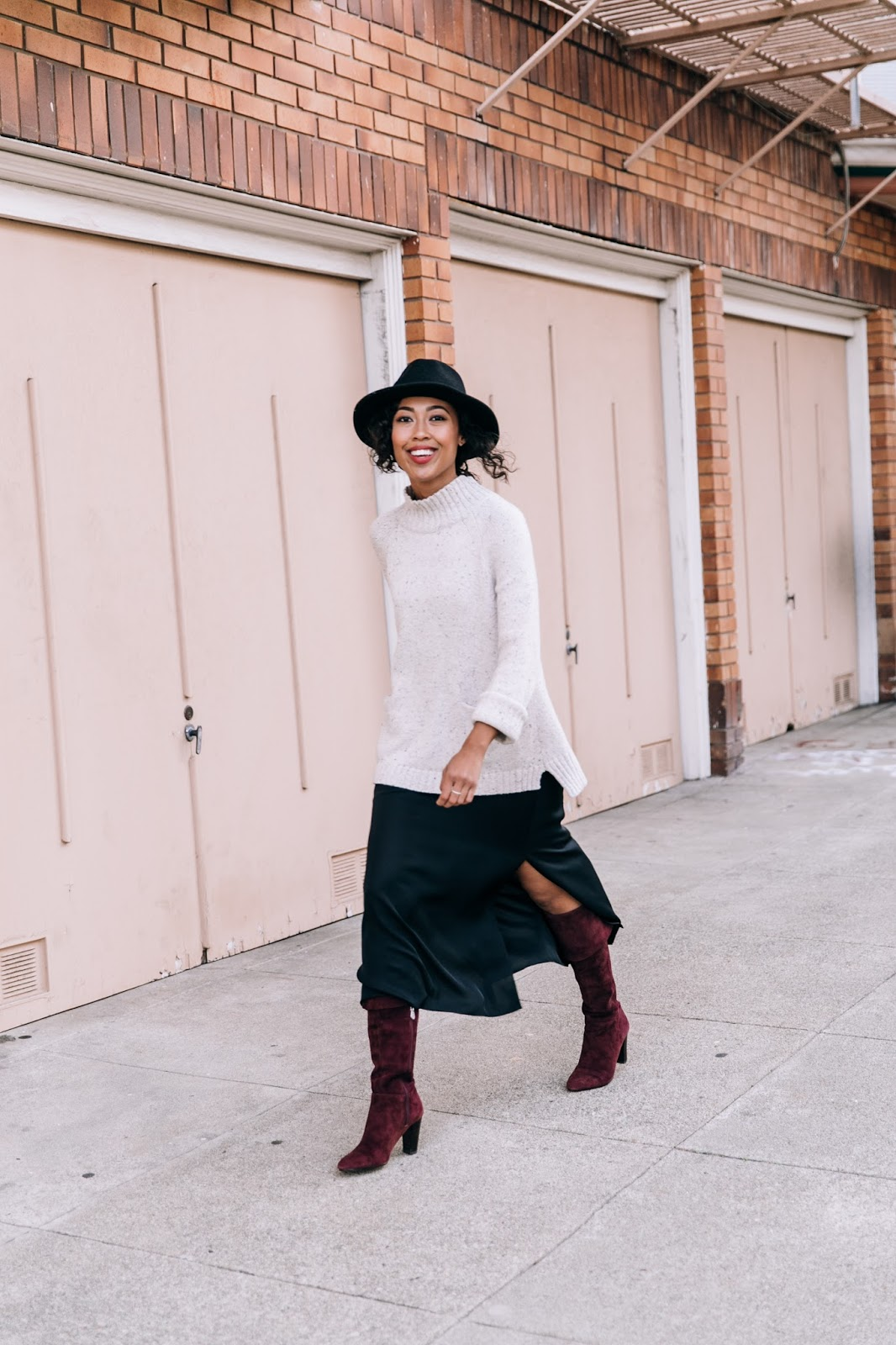 Pancake Stacker wearing J.Jill Sweater,  H&M hat, Grana silk slip dress, and OTK boots