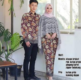 Baju Couple Muslim Batik Gamis Pasangan Couple Batik Kebaya Fathiyah Gray